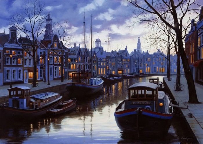 картины художник Евгений Лупшин. Сумерки в Амстердаме