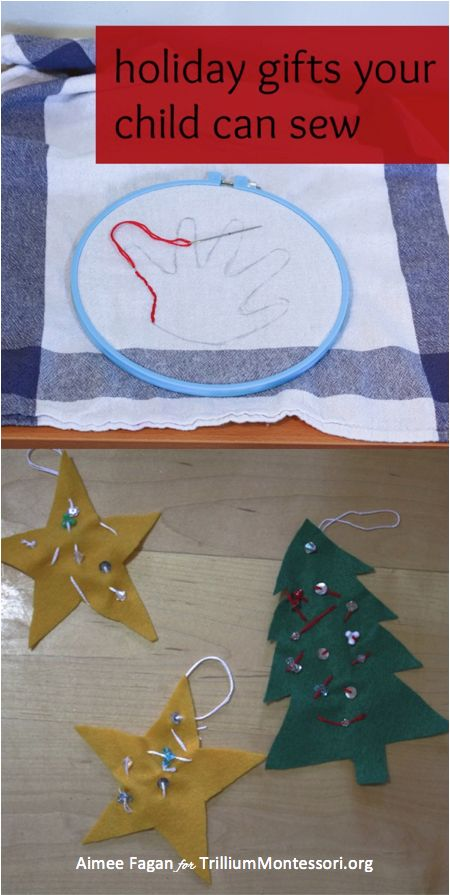 Holiday Gifts Your Child Can Sew- a few Montessori sewing activities including step by step instructions on how to thread a needle and make a knot