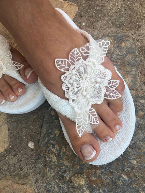 Bridal ivory Flip flops. wedding flip