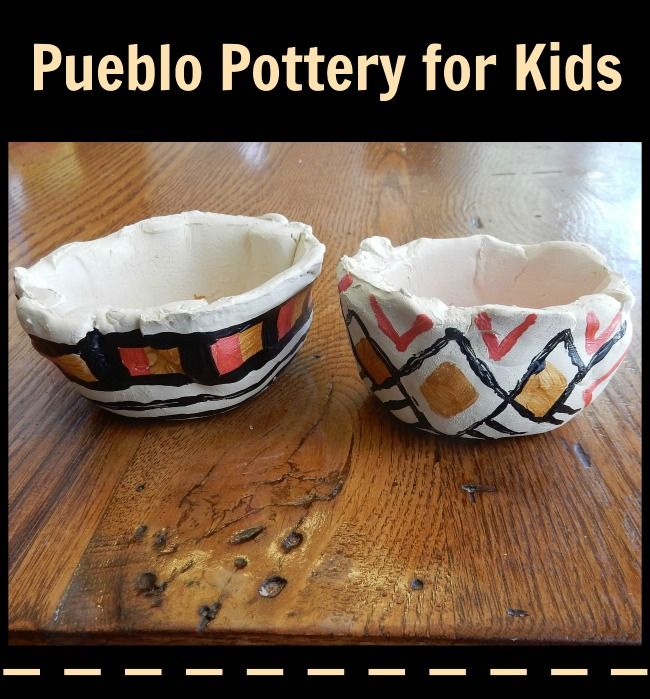 A Pueblo pottery project for kids to make with real clay: fun way to learn about artifacts from the American Indians of New Mexico.