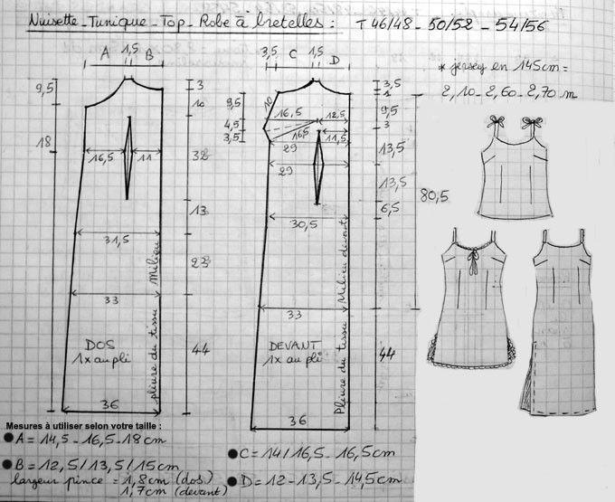 Voici rien que pour vous un patron sympa dans les tailles 46 à 56... Il est très modulable, et vous pourrez le décliner dans des tissus et des longueurs variées, pour réaliser des tenues d'été telles que : robe à bretelles, top, tunique, et aussi des...