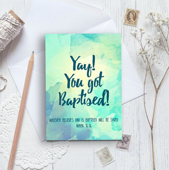Yay! You Got Baptised A6 Izzy & Pop Card - Baptism card - Card for Him or Her - Christian Cards - Faith Cards - Church Cards - Bible Verse