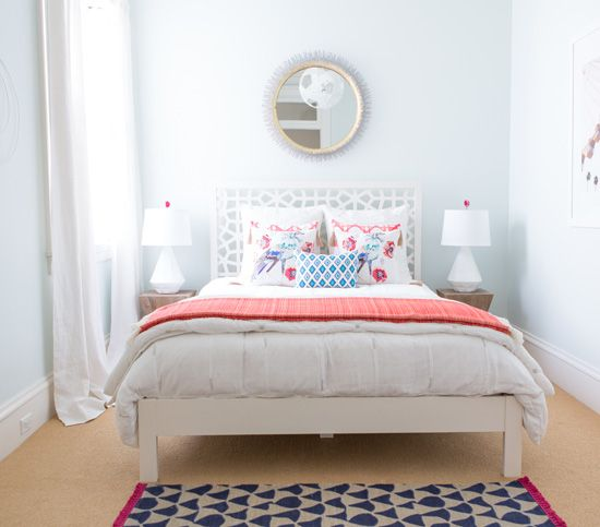 Such a light and airy bedroom. Farrow & Ball Cabbage White paint is dreamy, Clarendon Mirror from Crate and Barrel, West Elm Morocco Headboard.