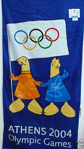 ATHENS 2004 TOWEL ATHENA & PHEVOS MASCOT WITH FLAG