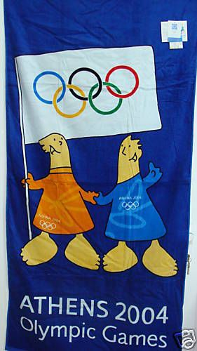 ATHENS 2004 TOWEL ATHENA & PHEVOS MASCOT WITH FLAG