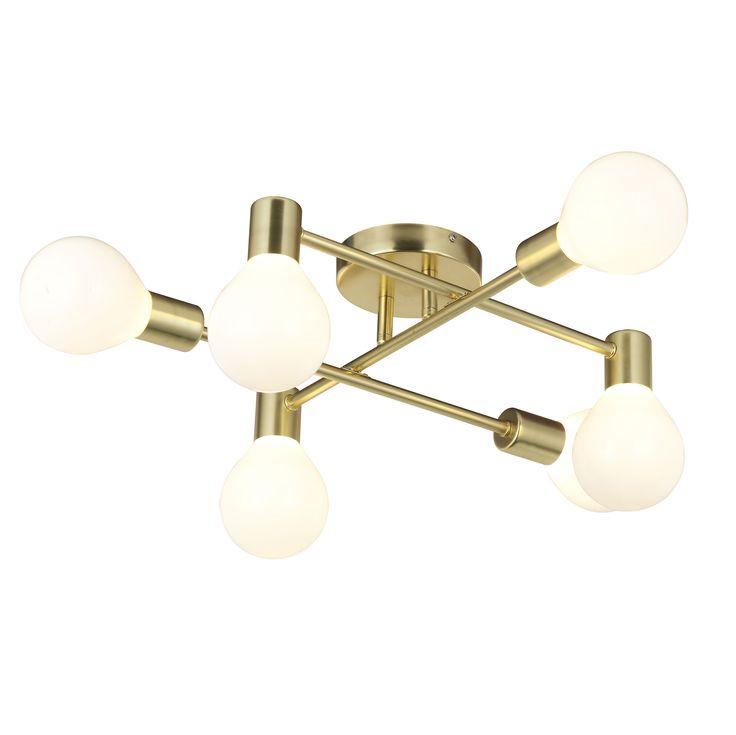 Channing modern gold satin brushed 6 lamp ceiling light ceiling light diysemi flush