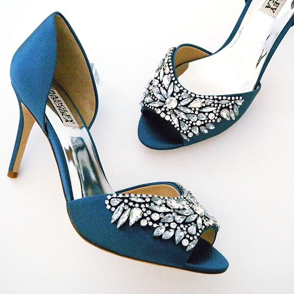 Badgley Mischka Wedding & Evening Shoes. Spectacular stormy blue heels, heavily beaded vamp, manageable heel height, daring, gorgeous shoes.