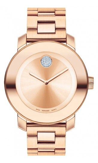 Movado rose gold watch with crystal dot
