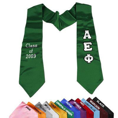 Greek Graduation Stole with Twill Letters from Something Greek   This one is shown for Alpha Epsilon Phi   Available for any group and custom