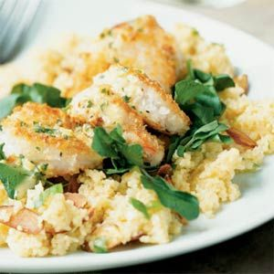 Crunchy Shrimp with Toasted Couscous & Ginger-Orange Sauce-   Sauce: oj, cilantro, mayo (greek yogurt), chicken broth, ginger, lime juice, cumin, salt, cayenne.   Couscous: couscous (quinoa), chicken brother, oj, salt, green onions, sliced almonds toasted, butter.   Shrimp: jumbo shrimp, beaten egg white, panko breadcrumbs, cilantro, ginger, pepper, canola oil (or bake), watercress