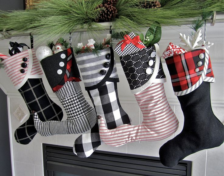 No. 1 Black, White & Red Christmas Stocking - Droopy Toe Style - via Etsy. #TTAA #SupportTradition