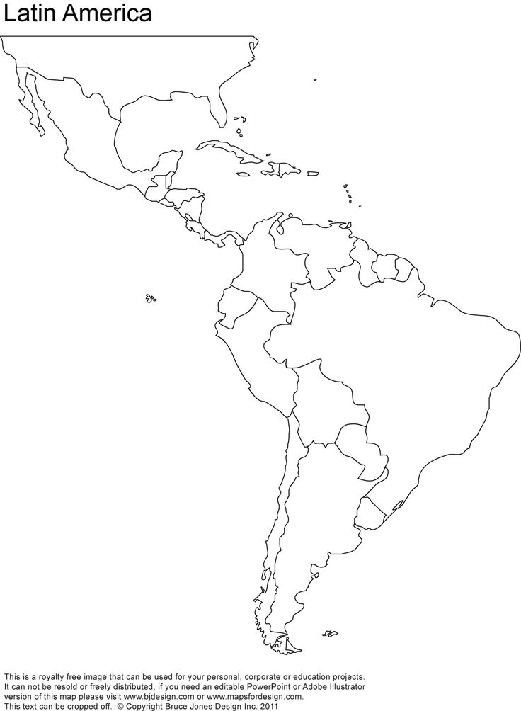 free blank map of north and south america | Latin America Printable Blank map, south america