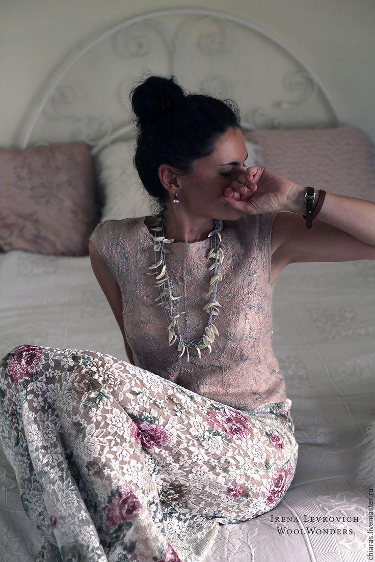 """Купить Блуза из шелка и шерсти """"Невесомость"""" - бледно-розовый, легкая блузка, нежная блуза"""
