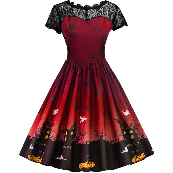 Vintage Lace Insert Halloween Pin Up Dress ($16) ❤ liked on Polyvore featuring costumes, red costume, vintage pin up costumes, red halloween costumes, vintage costumes and pinup costume