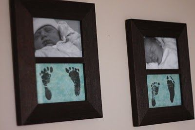 Photo copy babies footprints onto scrapbook paper and frame with a black and white newborn pic.