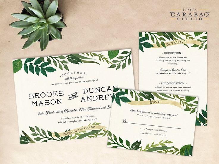Wedding Invitation PRINTED Sample Wedding Invitation Suite Botanical Wedding Invitation Set - Little Carabao Studio - #006 by littlecarabaostudio on Etsy