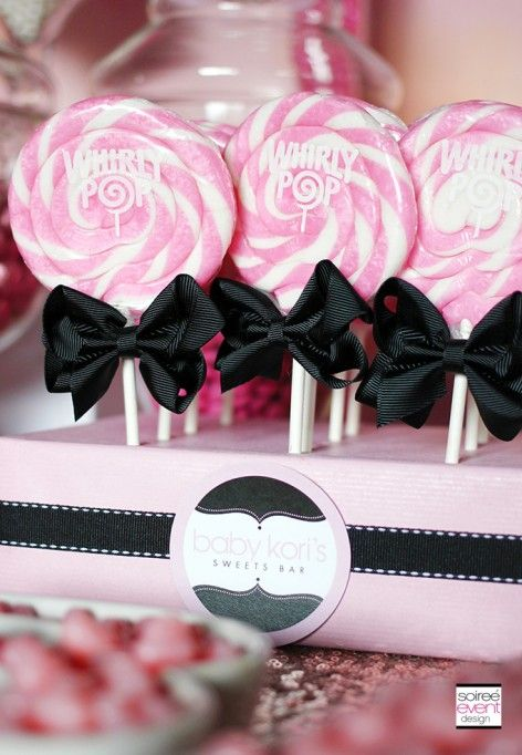 Pink and white Swirl Lollipop display