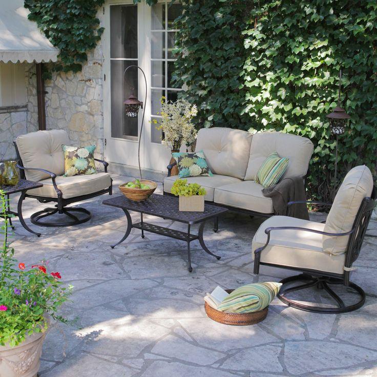 Belham Living Palazetto Cast Aluminum Outdoor Loveseat Set   Seats 4