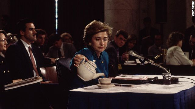 Clinton pours herself a cup of tea during her testimony to the Senate Education and Labor Committee on health care reform in 1993.