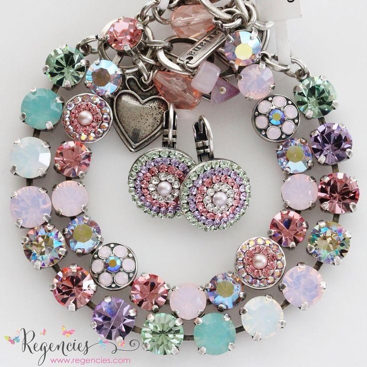 "Mariana Jewelry from ""Pina Colada"" collection featuring a gorgeous array of pretty pastel Swarovski crystals. Available at www.regencies.com"