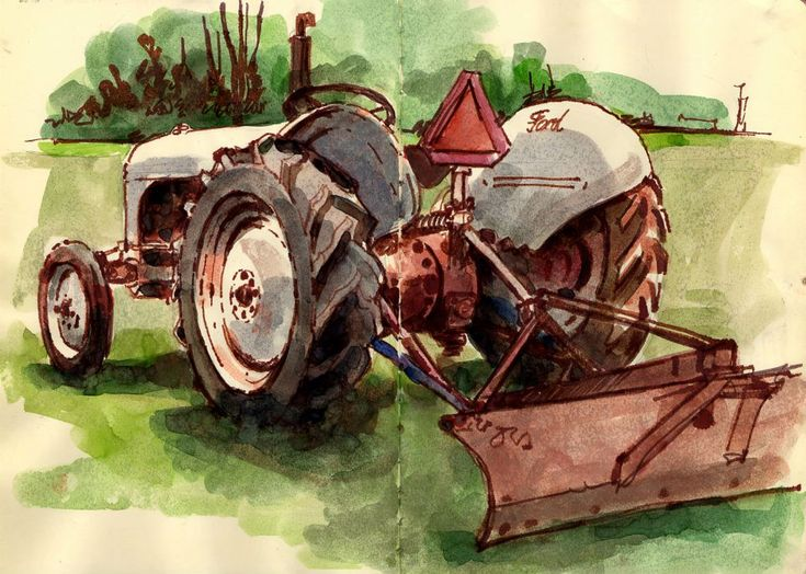 watercolor of antique tractor   Old Ford Tractor (Back)