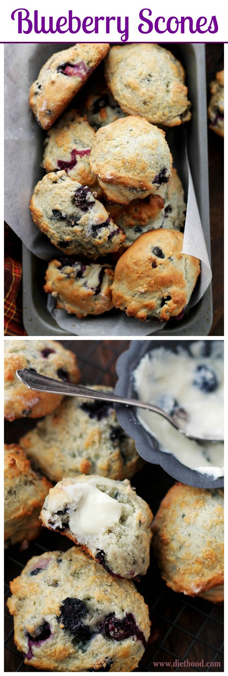 Light, fluffy, homemade Blueberry Scones, topped with turbinado sugar and dipped in a creamy, rich and sweet Blueberry Cream Cheese Frosting.