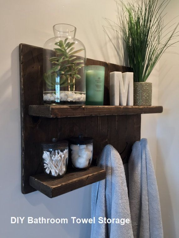 Great Diy Bathroom Towel Storage Ideas 2 With Images Rustic Bathroom Shelves Bathroom Towel Storage Bathroom Towel Hooks