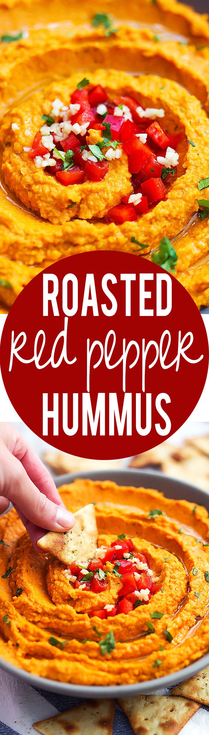 Roasted Red Pepper Hummus Dip | Creme de la Crumb