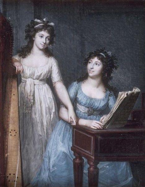 Dumont, Francois (1751-1831) - Portrait des demoiselles Flamand, Louvre, Paris