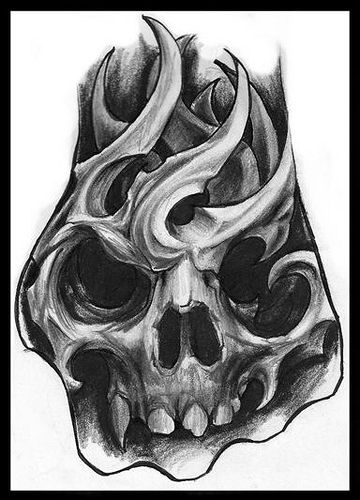"bio mechanic skull, ""hand tattoo sketch"" by Jorge A gWooKi, via Flickr"