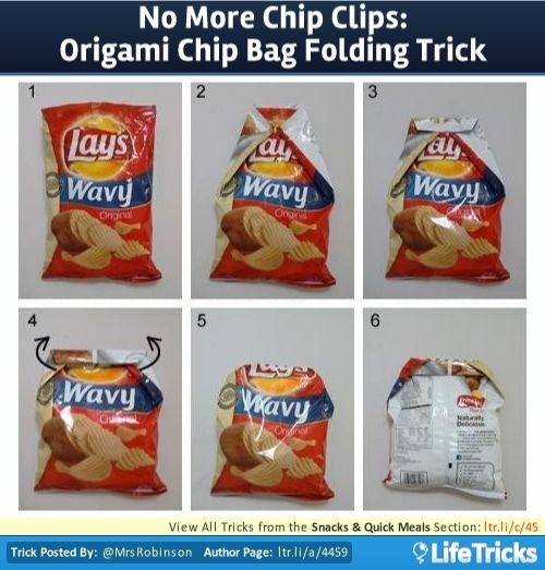 Flatten out top of bag. Fold in two top corners with long creases on sides. Fold over top of bag once, giving it a 1″ flap. Fold 3-4 more iterations. With your thumbs tucked into the corner flaps, fold flaps over top.