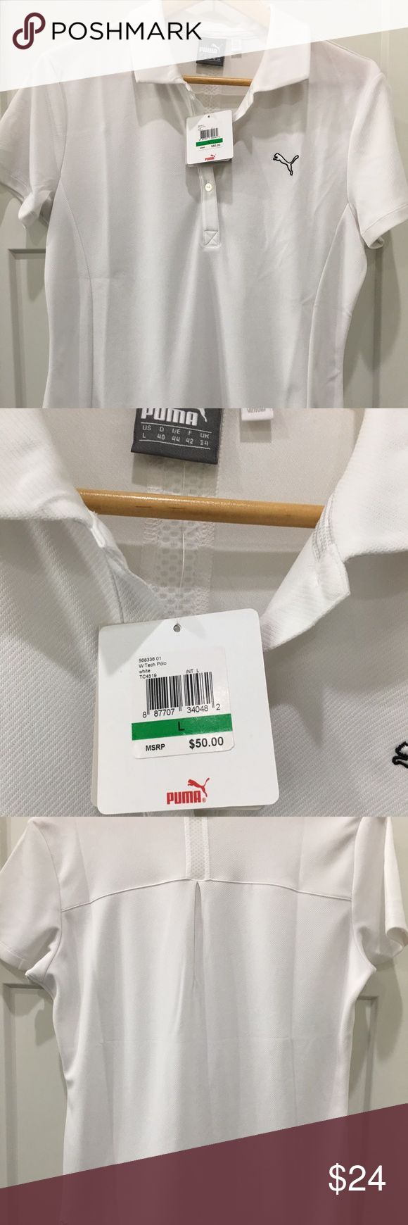Women's Puma Golf Tech Polo size Large NWT Brand new with tags....Ladies versatile Puma white Golf Polo, size Large.  Great color because it goes with everything!!!  Highly functional materials draw sweat away from your skin and help keep you dry and comfortable. Offers UV protection. Puma Tops Tees - Short Sleeve