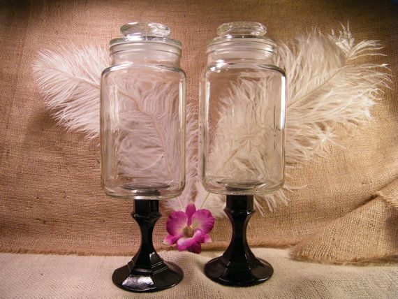Apothecary Jars -Set of 2 Pedestal Clear Glass Jars-Wedding Candy Bar Buffet Jars-Fleur De Lis-Upcycled and Repurposed. $27.50, via Etsy.