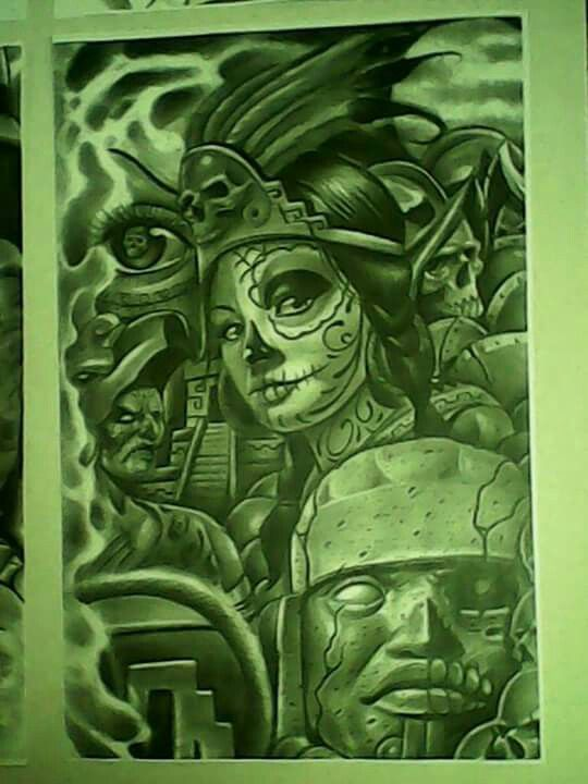 Aztec arte chicano pride pinterest aztec chicano for Chicano tattoo art