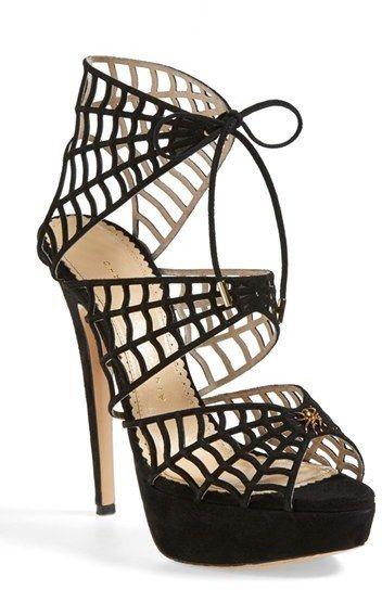 Charlotte Olympia Suede Web Platform Sandal #heels #shoes