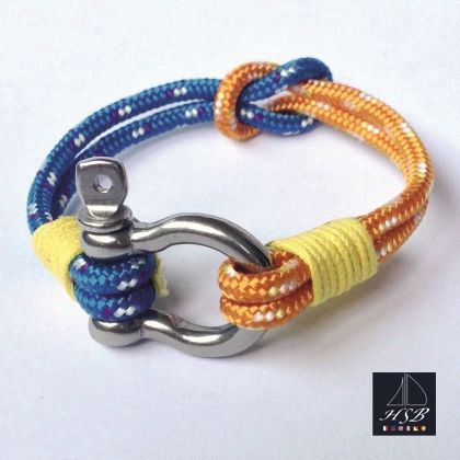Orange and blue paracord bracelet with yellow line and stainless steel shackle - 45 RON