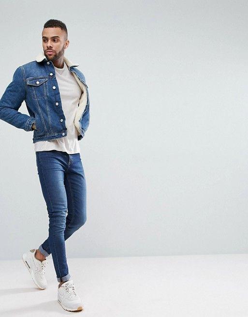 0ac199bdb New Look fleece lined denim jacket in mid blue wash in 2019 | Denim ...