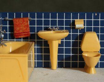 Vintage MID CENTURY Lundby Barbie Doll House Bathroom 1950's Set SWEDEN