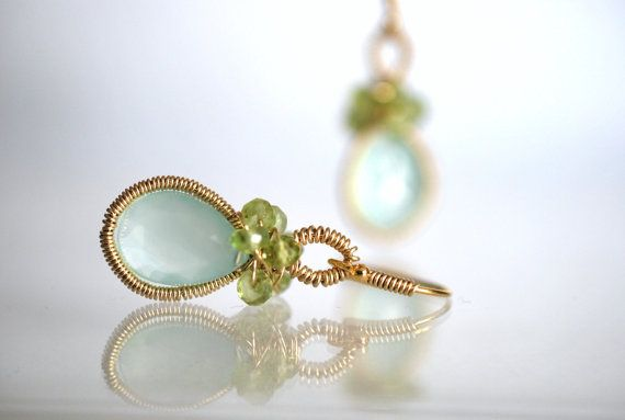 Sea breeze  Chalcedony PeridotGold Filled by ChaninBijoux on Etsy, $130.00
