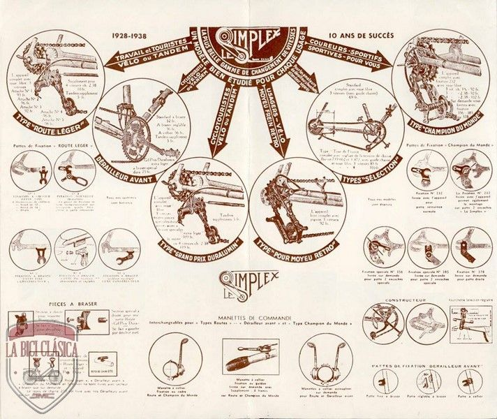"""Desviadores Simplex de 1928 a 1938. Otra joya salida de """"Bella Bicicleta"""". En este caso se trata de los modelos de desviadores de la casa Simplex …"""