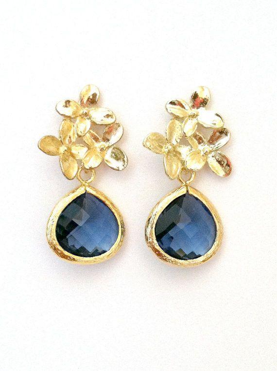 Triple Flower Gold Post Earrings with Montana Blue Gold Framed Pendants