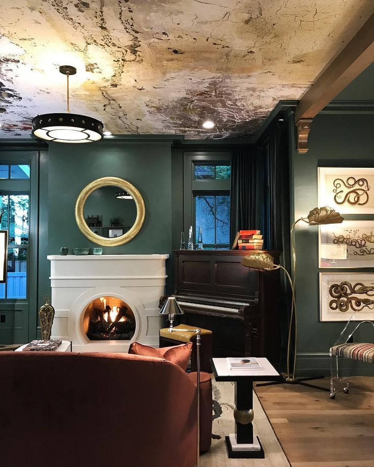 This Old Money Gucci Inspired Home With A Custom Circular Fireplace In The Parlor Tigeroakalicelane Design By Alice Lane Interior Tiger Oak Home Fireplace
