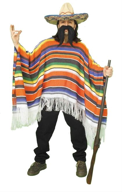 Mexican Serape Costume - Enjoy a refreshing cervesa in style with this Traditional Saltillo Mexican Serape. This Mexican Serape Saltillo Poncho is made of woven materials in the traditional northern Mexican style. The pattern is comprised of yellow, red, green, blue, black and white bands. The Serape features a white fringe at the bottom and may be cinched up via ties around the back of the neck. #mexico #yyc #calgary #costume #mens