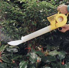 Dustin Mizer Garden Dust Applicator- 	This simple yet powerful dust applicator disperses dust in, around and under plants. Its unique blower uses a high volume of air to propel dust without building speed. An optional deflector ensures thorough dusting under leaves. Corrosion resistant plastic and stainless steel parts give years of trouble-free service. Holds up to 1 lb. of dust. Includes applicator and deflector.