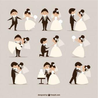 quadrinhos estilo do casamento vetor elementos