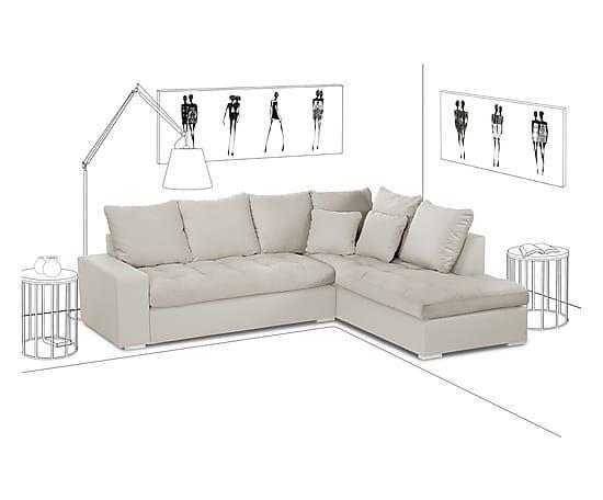 Divano angolare con chaise longue dx Crinoline crema - 261x207x84 cm
