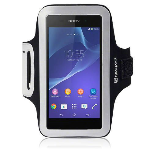 Shocksock Black Reflective Sports Running Gym Armband for Sony Xperia Z2