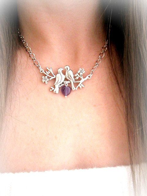 Love birds necklace amethyst heart pendant by MalinaCapricciosa