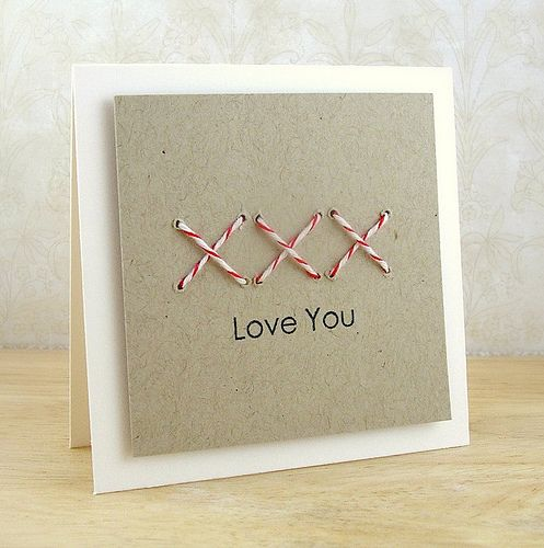 XXX Love You Card: Christmas Cards, Baker Twine, Cards Ideas, Crosses Stitches Love, Valentines Day, Note Cards, Card Making, Valentines Cards, Paper Crafts