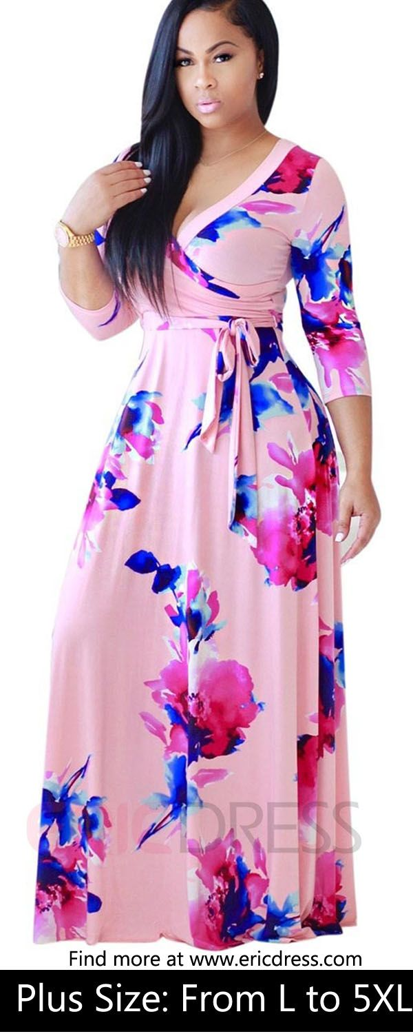 Ladies, try it. You will fall in love with it.V-Neck Floral Print Expansion Maxi Dress for u